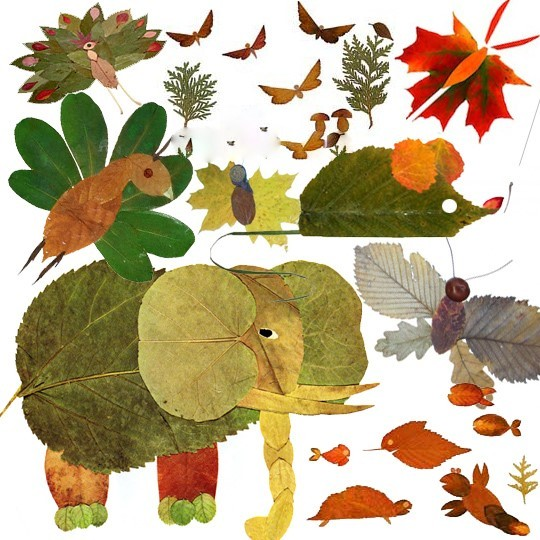 autumn leaf crafts for kids animals
