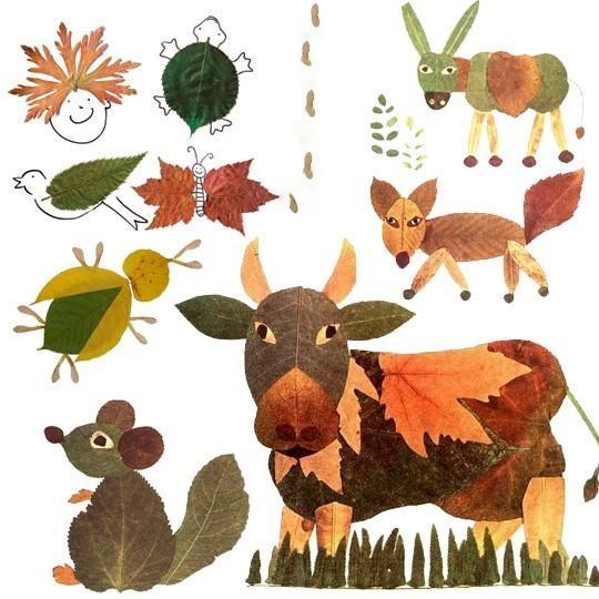 fall leaf collage craft for kids kindergarden