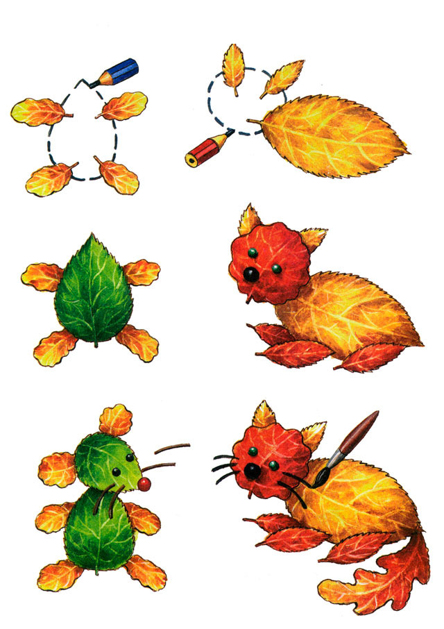 fall leaf crafts for preschool animals cat and mouse