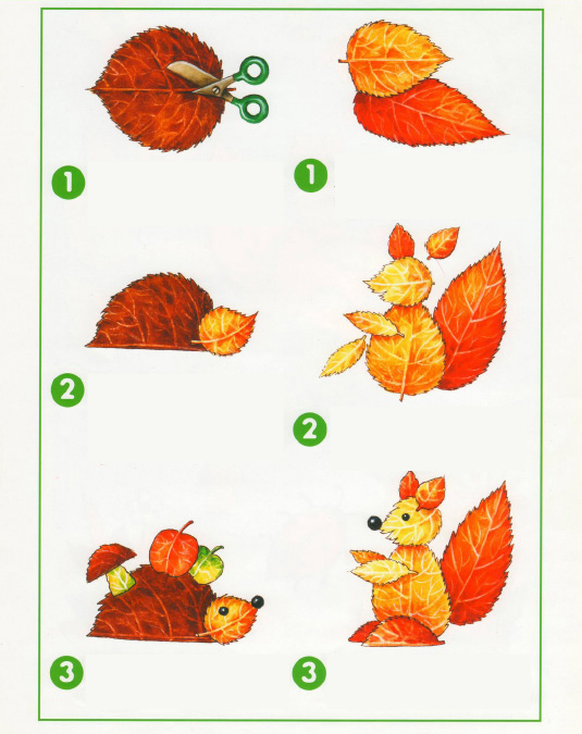 fall leaf crafts preshool animals hedgehog squirrel
