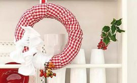 diy styrofoam wreath twisted red fabric kitchen decor idea