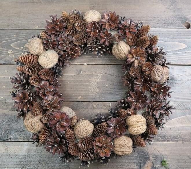 easy to make styrofoam christmas wreath ideas cones nuts and bubbles