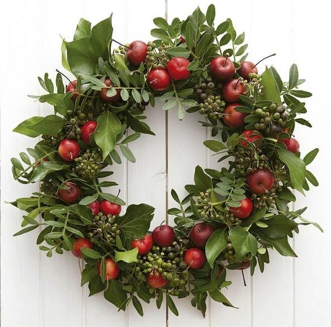 green ivy branches and apples styrofoam wreaths christmas wall decor