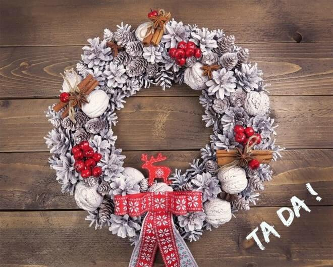 handmade styrofoam christmas wreath for front door decoration