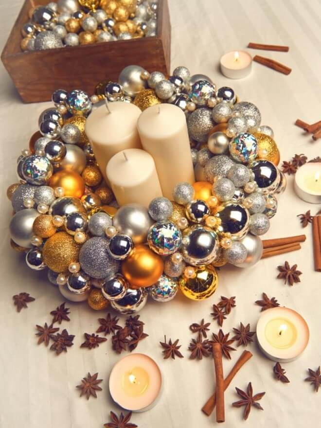 styrofoam wreath christmas decorations silver and gold ball ornaments and candles
