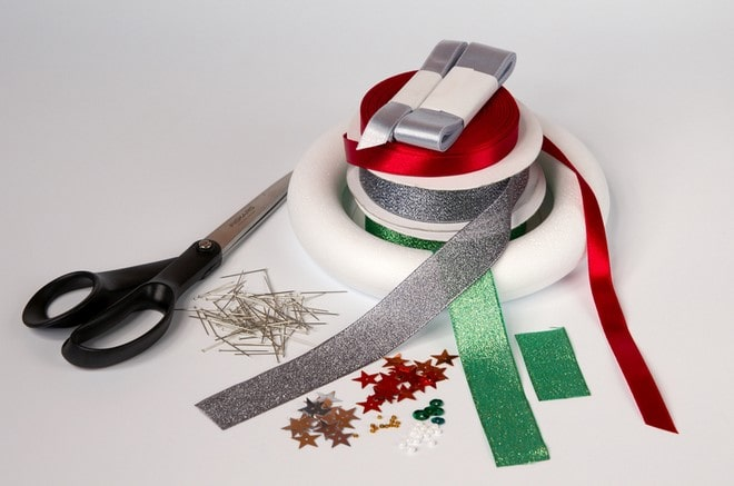styrofoam wreath diy idea materials pins and colored ribbons