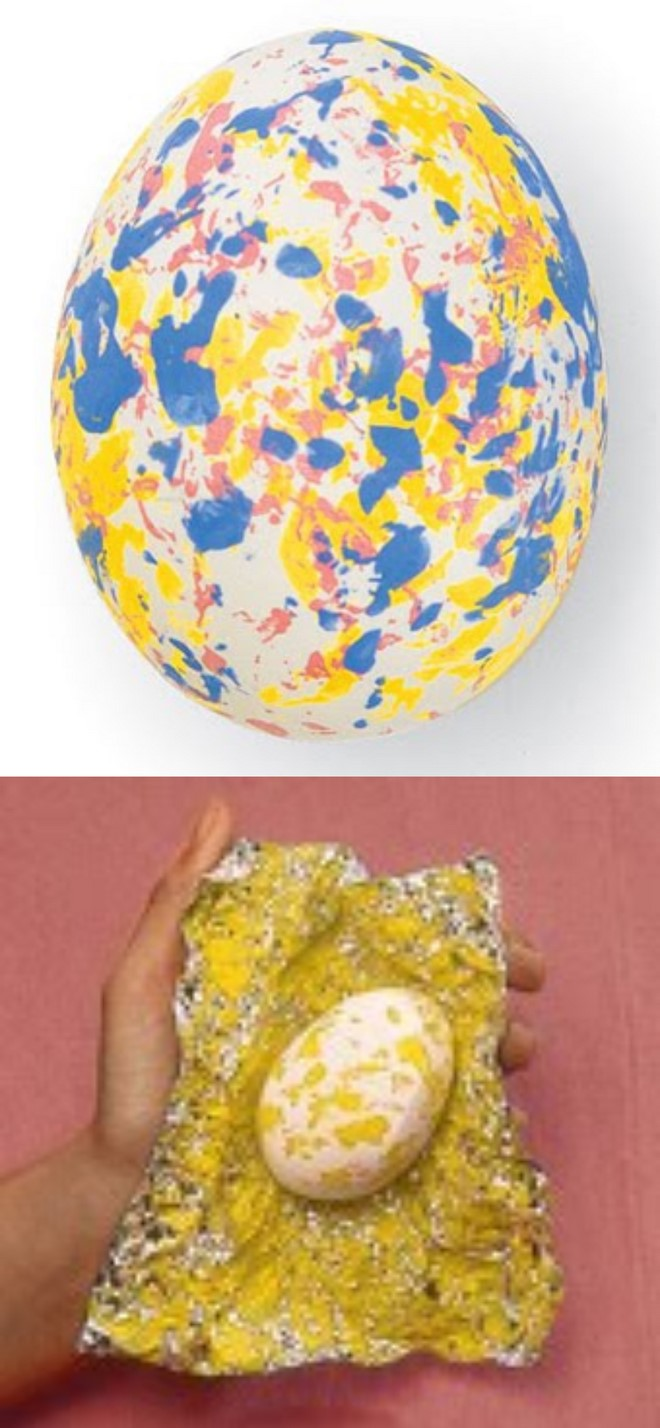 Speckled Easter eggs using aluminium foil and acrylic paint