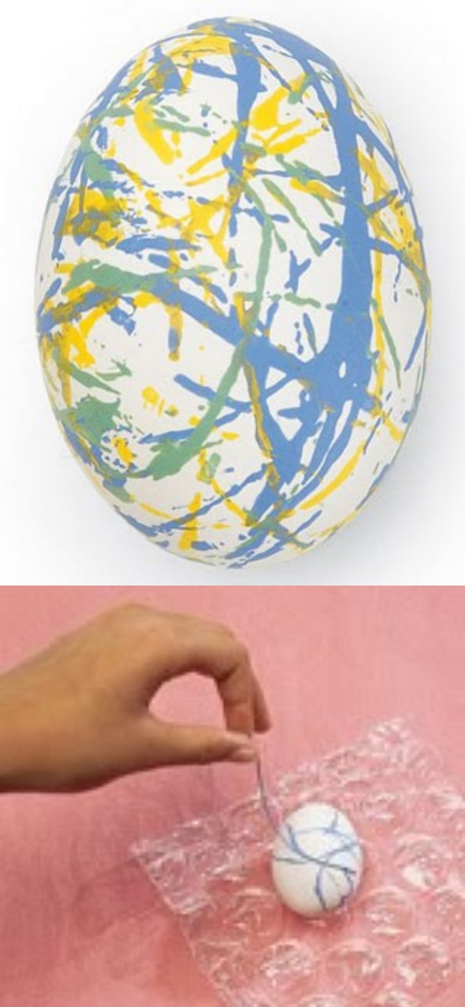 cool egg decorating techniques abstract pattern using a cord
