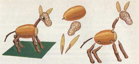 crafts for 4 year olds - donkey made of acorn peanut and sticks
