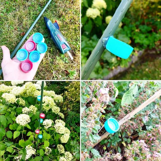 bee water feeder diy upcycling bottle caps in garden