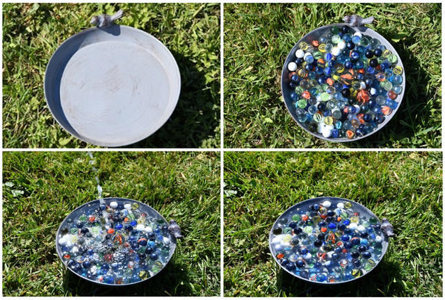 bee water marbles in tray