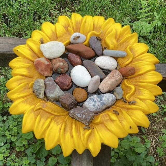 bee water station in a pretty sunflower bowl